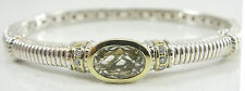 Authentic Judith Ripka Sterling 18K Diamond Chrysolite Bangle Bracelet Hinged