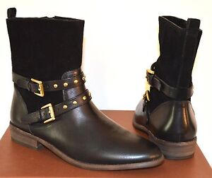 New $248 Coach Lilliana Suede/Matte Calf Black/Gold Leather Short Boots Side Zip