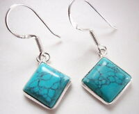Turquoise Square 925 Sterling Silver Dangle Earrings Corona Sun Jewelry
