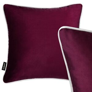 100% Velvet Cushion Burgundy Red Grey Piping Sofa Throw Pillow Cover 45cm 18in