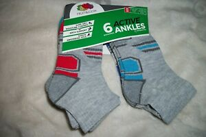 6 pairs Fruit of the Loom Active ANKLE SOCKS Gray Shoe Size 9 - 2.5