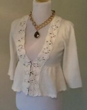 Knitted & Knotted Sweater, Size Small, Cream, Cotton, Crochet Trim, 3 Button
