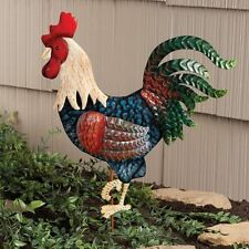 Metal Rooster Garden Stake Yard Lawn Art Outdoor Planter Decor Bird ~
