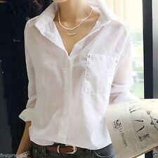 camisa blanca blusa casual algodon Cotton White Blouse Shirt Turn Down Collar