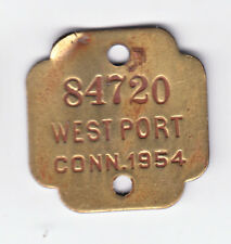 1954 WESTPORT CONNECTICUT DOG LICENSE TAG #84720
