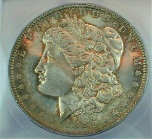 1886 Morgan Silver Dollar certified by ICG MS63 Condition Toned KM#110  (334)