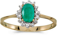 14k Yellow Gold Oval Emerald And Diamond Ring (CM-RM1342X-05)