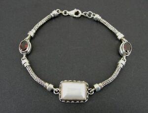 "Milo Garnet Red Mother of Pearl Sterling 925 Silver Bracelet 7 3/4"" Long"