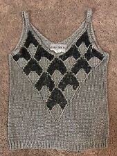 Sequined Sweater Tank Top Gray with Gunmetal Embellishments Rayon Small