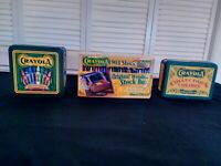 3 Crayola Collectible lot 2 Tins 1990 1993 wooden crayons