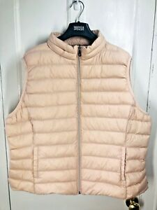 Ladies ex-M&S Puffer Gillet / Body Warmer Hooded Size 22 Blush Pink Water Repell