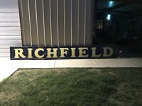 Vintage RICHFIELD Porcelain Gas and Oil Dealers Sign. 16' Long Odessa Texas