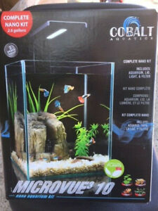 "Cobalt Microvue3 Aquarium Kit 2.6 gal, Measures  9""x9""x9"" (NEW)"
