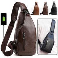 Men's  Travel Leather Shoulder USB Charging Chest Bag Diagonal Package Messenger
