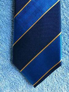"""8"" by HERRINGBONE Quality Neck Tie China made 100% Silk, Blue, diagonal stripe"