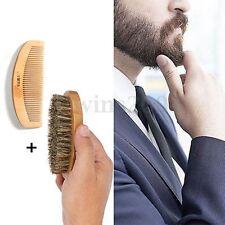 2pc Peigne Brosse Poils De Sanglier Barbe Moustache Cheveux Bois Militaire Homme