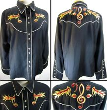 Scully Womens Vintage Western Shirt Rockabilly Flaming Music Notes Pearl Snap Xl