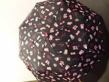 New Betsey Johnson Black and Pink Umbrella w/ Shoes, Hearts, Lipstick, etc.