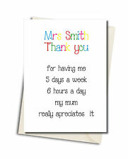 Personalised Thank You Teacher School Leaving Funny  Card