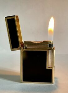 Vintage lighter Dupont Ligne 1 Small🖤Black💛Gold Good💖Rare