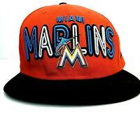Miami Marlins New Era 9FIFTY Strapback Baseball Hat Cap Orange Embroidered OSFM
