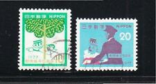JAPAN 1973 6TH POSTAL CODE CAMPAIGN COMP. SET OF 2 STAMPS SC#1143-1144 FINE USED