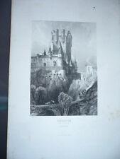 Engraving Segovia Segovia View L'Alcazar