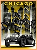 Chicago Illinois Car & Buildings Vintage Travel Advertisement Art Poster Print