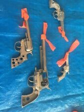 LOT OF 4 VINTAGE ANTIQUE TOY CAP GUNS- Hubley, Kilgore Pal