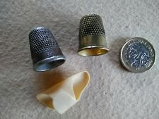 3 Vintage Antique Thimbles, Brass, Metal and Celluloid Sewing Tool Crafts