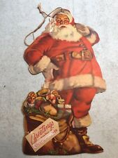 Vtg Richfield Car Advertising Santa Claus Christmas Die Cut Hang Tag 9�