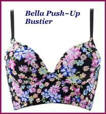 NWT BELLA FLORAL MULTI COLOR CAGE LACE PUSH~UP BUSTIER BRA PADDED UNDERWIRE 38B