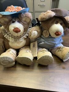 Furskins Vintage 1985 Plush DUDLEY & HATTIE Bear with Tag and Button, by Xavier