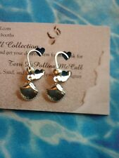 SilverShell Clam Charm With Silver Leverback Earrings