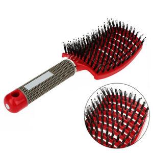 Pro Natural Boar Bristle Straight Curly Hair Brush Comb Head Scalp Massage Comb