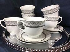 Fine Porcelain Coffee  Tea  Set 12 pc Silver  Net  Lomonosov Design  New