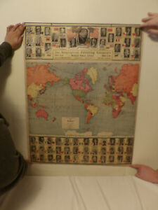1930s 4 Pg. Geographical Publishing Co Wall Chart Atlas Maps World United States