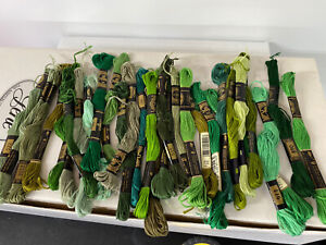 Lot of (45) Green Shades Vintage DMC Embroidery Craft Thread Skeins 100% Cotton