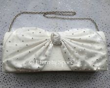 Ivory Cream Crystal Bow Wedding Bridal Clutch Bag Made With SWAROVSKI ELEMENTS