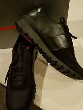 $695 NEW Men's Prada Black Leather/Suede/Nylon Sneaker Trainer Shoe US 12