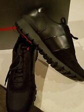 $695 NEW Men's Prada Black Leather/Suede/Nylon Sneaker Trainer Shoe US 12