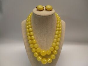 Vintage Yellow Moonglow Multi 2 Strand Lucite Plastic Beaded Necklace & Earrings