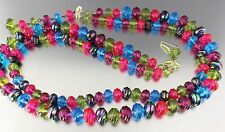 VINTAGE 50'S MULTI 2 STRAND PINK GREEN BLUE PLASTIC BEAD NECKLACE W GERMANY