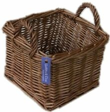 TRADITIONAL HONEY WICKER SQUARE HANDLED BASKET STORAGE GIFT
