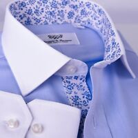 Men's Blue La Plata Formal Business Dress Shirt  Single Cuff Spread Collar Style