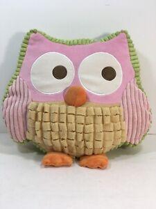 Circo OWL Decorative Throw Pillow Pink Plush PINK GREEN Orange Bird