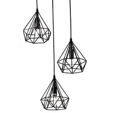 Geometric 3 Diamond Cage Cluster Kitchen Pendant Hanging Light Polygon Shades