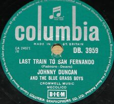 JOHNNY DUCAN & BLUE GRASS BOYS LAST TRAIN ROCK A BILLY 78 RPM E EXCELLENT GRADE