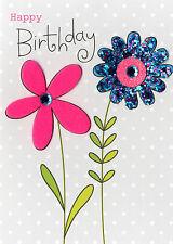 I fiori BUON COMPLEANNO BIGLIETTO D'AUGURI Impreziosito rifinita a mano colore MANIA CARD