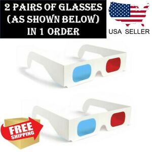 2x Universal Anaglyph Cardboard Paper Red Blue Cyan 3D Glasses For Movie Cinema